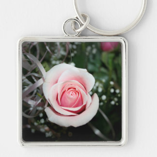 pink rose with ribbon close up flower keychains