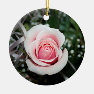 pink rose with ribbon close up flower christmas ornament
