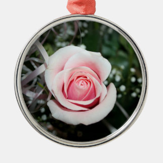pink rose with ribbon close up flower ornaments