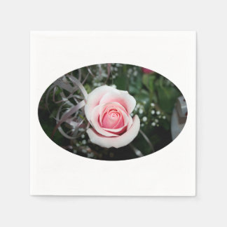 pink rose with ribbon close up flower paper napkin