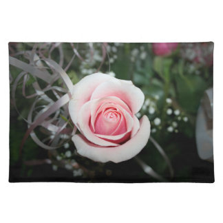 pink rose with ribbon close up flower placemat