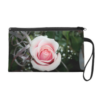 pink rose with ribbon close up flower wristlet purse