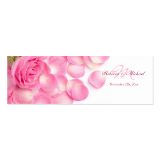 Pink Rose with Scattered Petals Thank You Tags Mini Business Card