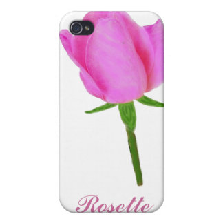 Pink Rose with Stem Cases For iPhone 4