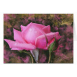 Pink Rose with Water Droplets Blank Greeting Card