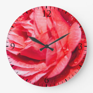 Pink Rose With Water Drops, Nature Photograph Large Clock
