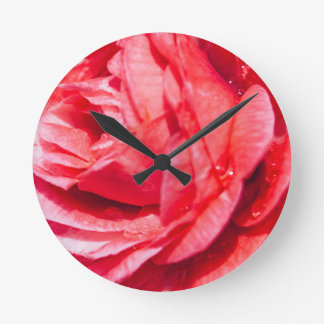 Pink Rose With Water Drops, Nature Photograph Round Clock
