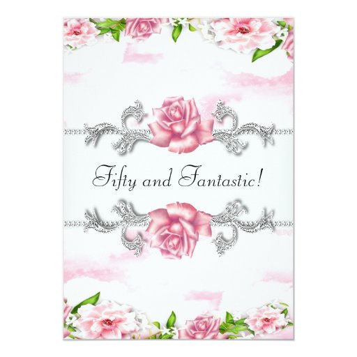 Pink Rose Womans 50th Birthday Party Card  Zazzle