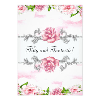 Pink Rose Womans 50th Birthday Party Invites