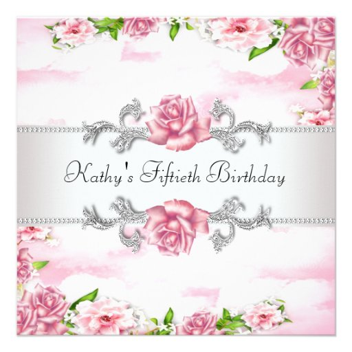 Pink Rose Womans 50th Birthday Party Personalized Invitation
