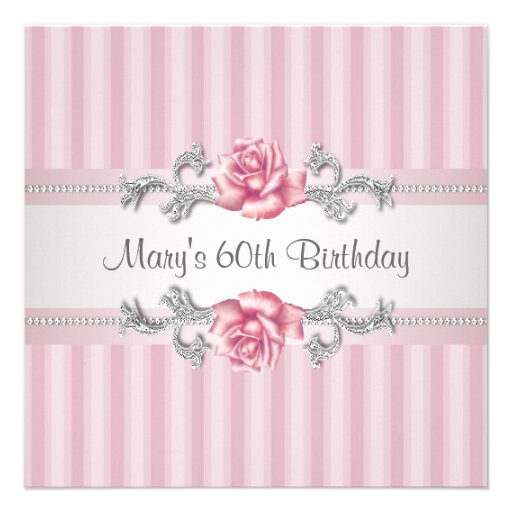 Pink Rose Womans 60th Birthday Party Personalized Announcements