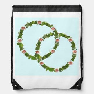 Pink Rose Wreath Drawstring Bag