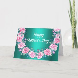 Pink Rose Wreath Mother's Day Card