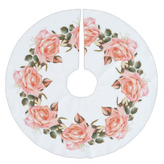 Pink Rose Wreath Tree Skirt