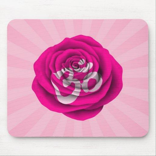 Pink Rose Yoga Om Mouse Pads