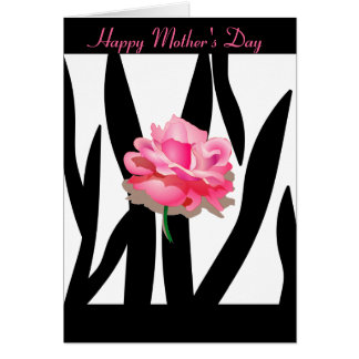 Pink Rose Zebra Mother's Day Card
