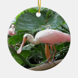 Pink Roseate Spoonbill Bird Double-Sided Ceramic Round Christmas Ornament