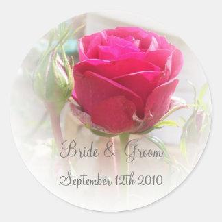 Pink Rosebud Bride And Groom Sticker