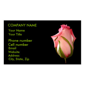Pink Rosebud Double-Sided Standard Business Cards (Pack Of 100)