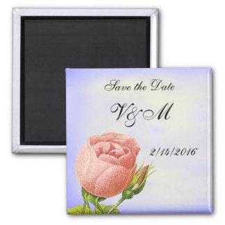 Pink Rosebud Custom Save the Date Magnet