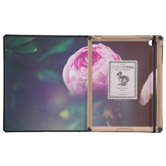 Pink Rosebud, Glowing Blue, Floral Photograph iPad Folio Cases
