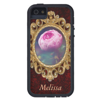 Pink Rosebud, Glowing Blue, Floral Photograph iPhone 5 Cases