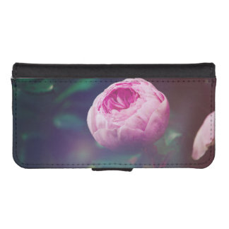 Pink Rosebud, Glowing Blue, Floral Photograph Phone Wallets