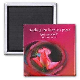 Pink Rosebud Inner Peace Flower Magnet