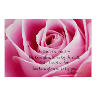 Pink Rosebud Love Quote Poster