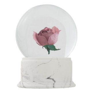 Pink Rosebud Snow Globe