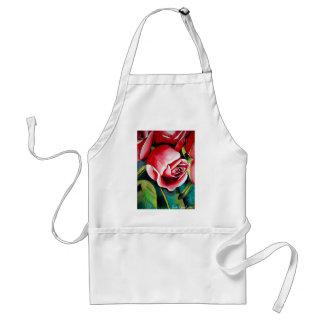 Pink Rosebud watercolor painting art flower Adult Apron