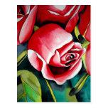 Pink Rosebud watercolor painting art flower Post Cards