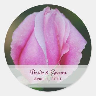 Pink Rosebud Wedding Stickers