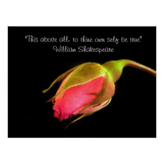 Pink Rosebud William Shakespeare Quote Poster