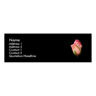 Pink Rosebud with Black Background Double-Sided Mini Business Cards (Pack Of 20)