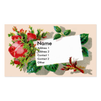 Pink Rosebud with Moss Victorian Trade Card Business Card Templates