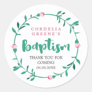 Pink Rosebud Wreath | Thank You Baptism Classic Round Sticker