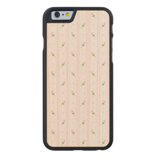 Pink Rosebuds and Stripes Carved Maple iPhone 6 Case