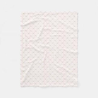 Pink Rosebuds and Stripes Fleece Blanket