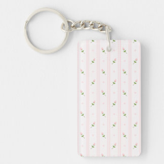 Pink Rosebuds and Stripes Key Chain