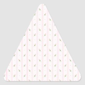 Pink Rosebuds and Stripes Triangle Sticker