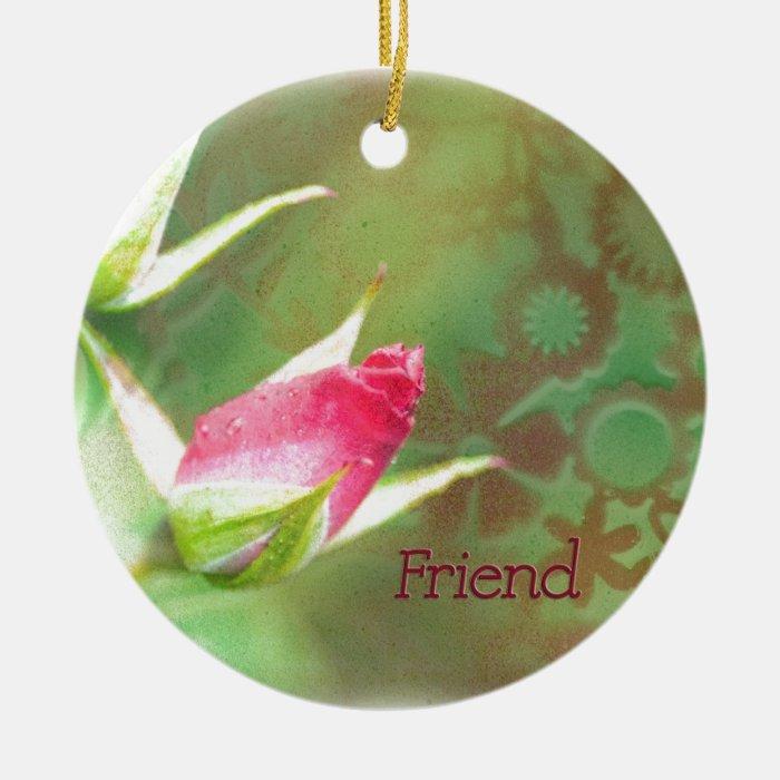 Pink Rosebuds Ceramic Ornament