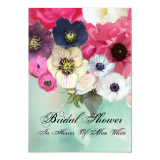 PINK ROSES AND ANEMONE FLOWERS BRIDAL SHOWER CARD