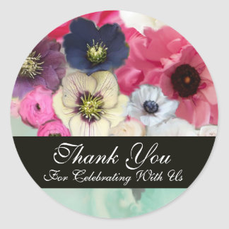 PINK ROSES AND ANEMONE FLOWERS BRIDAL SHOWER CLASSIC ROUND STICKER