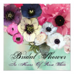 PINK ROSES AND ANEMONE FLOWERS BRIDAL SHOWER 5.25X5.25 SQUARE PAPER INVITATION CARD