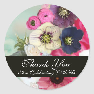 PINK ROSES AND ANEMONE FLOWERS BRIDAL SHOWER ROUND STICKER