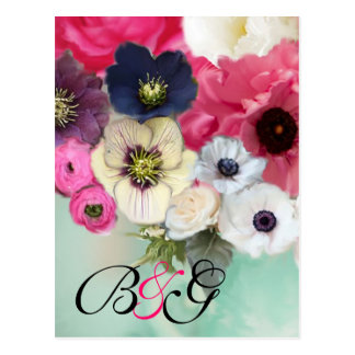 PINK ROSES AND ANEMONE FLOWERS MONOGRAM Save Date Postcard