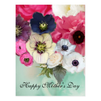 PINK ROSES AND ANEMONE FLOWERS MOTHER'S DAY POSTCARD