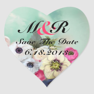 PINK ROSES AND ANEMONE FLOWERS Save the date Heart Heart Sticker
