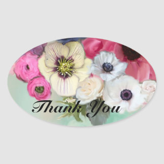 PINK ROSES AND ANEMONE FLOWERS Thank you Oval Sticker